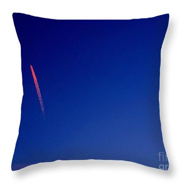 Pink Con Trail And Moon Throw Pillow