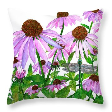 Pink Cone Flowers And Dragonfly Throw Pillow