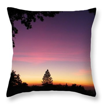 Pink Contrails Throw Pillow by Tom Mansfield