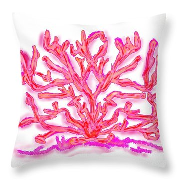 Throw Pillow featuring the digital art Pink Coral by Christine Fournier