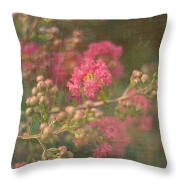 Pink Crepe Myrtle Throw Pillow by Suzanne Powers