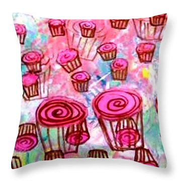 Throw Pillow featuring the painting Pink Cupcake Dream by Ecinja Art Works