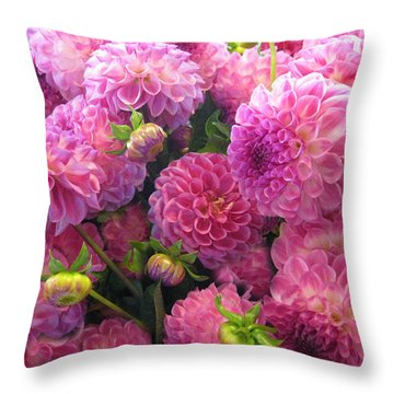 Pink Dahlia Bouquet Throw Pillow by Geraldine Alexander
