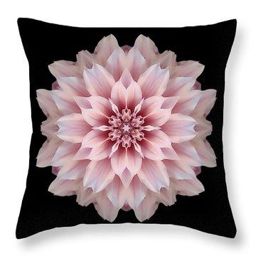Pink Dahlia Flower Mandala Throw Pillow