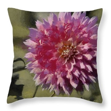 Throw Pillow featuring the painting Pink Dahlia by Jeff Kolker