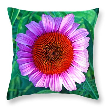 Pink Daisy By Jan Marvin Throw Pillow