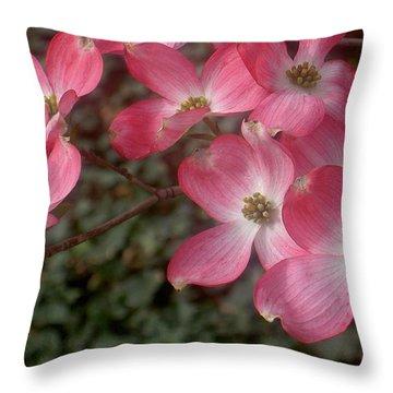 Pink Dogwood Delight Throw Pillow