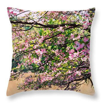 Pink Dogwood I Throw Pillow