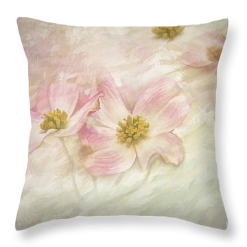 Throw Pillow featuring the painting Pink Dogwood by Linda Blair