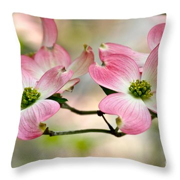 Pink Dogwood Splendor Throw Pillow by Eve Spring