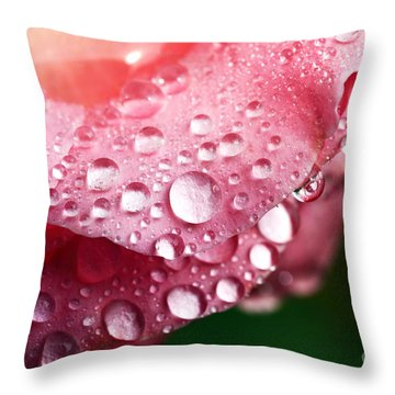 Pink Drops Throw Pillow by John Rizzuto