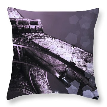 Pink Eiffel French Icon Throw Pillow by Evie Carrier