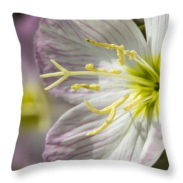 Pink Evening Primrose Flower Throw Pillow