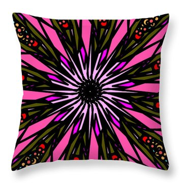 Throw Pillow featuring the digital art Pink Explosion by Elizabeth McTaggart