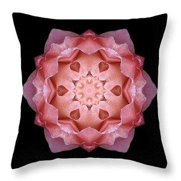 Pink Fall Rose Flower Mandala Throw Pillow