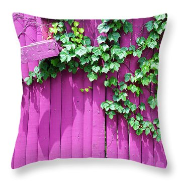 Pink Fence And Foliage Throw Pillow by Mary Bedy