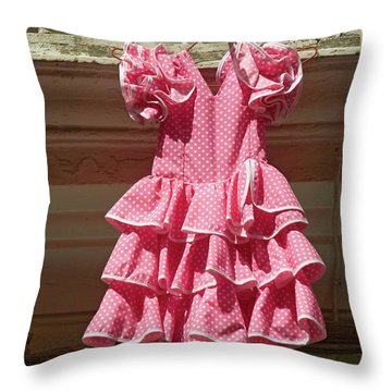 Pink Flamenco Dress For Little Girl Throw Pillow
