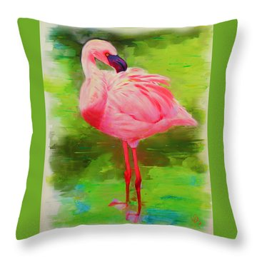 Throw Pillow featuring the painting Pink Flamingo by Deborah Boyd