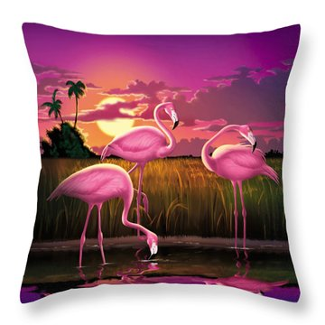 Pink Flamingos At Sunset Tropical Landscape - Square Format Throw Pillow
