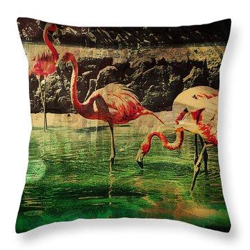 Throw Pillow featuring the digital art Pink Flamingos - Shangri-la by Absinthe Art By Michelle LeAnn Scott