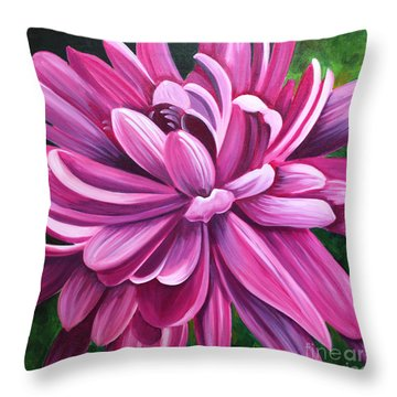 Pink Flower Fluff Throw Pillow by Debbie Hart