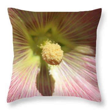 Pink Flower Macro Throw Pillow