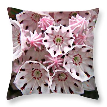 Pink Flowered Mountain Laurel Throw Pillow by William Tanneberger