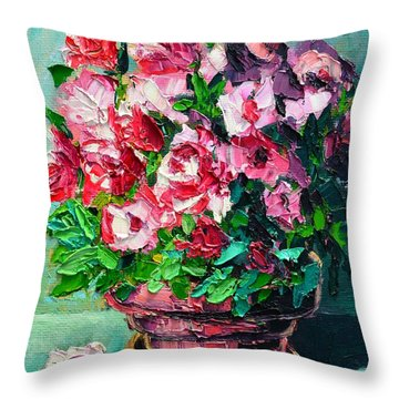 Throw Pillow featuring the painting Pink Flowers by Ana Maria Edulescu