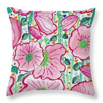 Pink Flowers In The Forest Throw Pillow