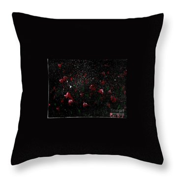 Throw Pillow featuring the painting Pink Flowers In Twilight by Becky Lupe