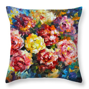 Pink Flowers Throw Pillow by Leonid Afremov