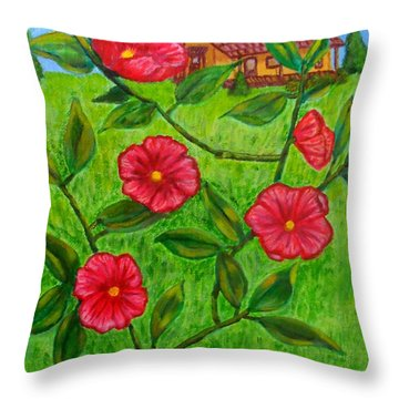 Pink Flowers Throw Pillow by Sheri Keith