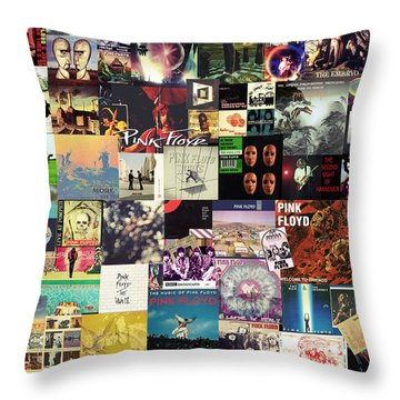 Pink Floyd Collage I Throw Pillow