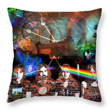 Pink Floyd Collage Throw Pillow