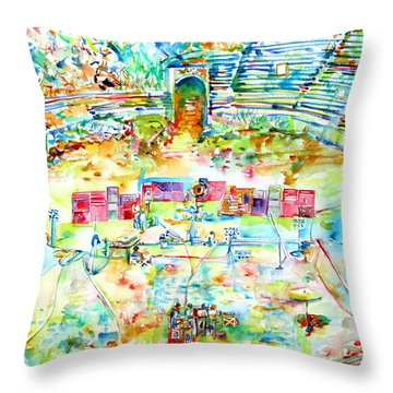 Pink Floyd Live At Pompeii Watercolor Painting Throw Pillow by Fabrizio Cassetta