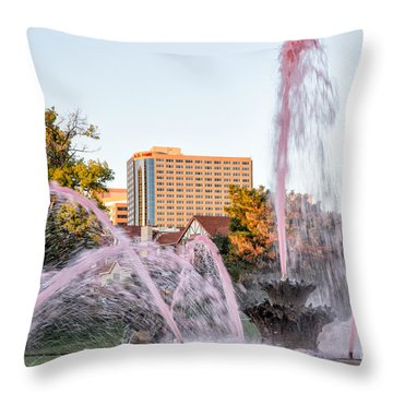Pink Fountain For Breast Cancer Throw Pillow by Terri Morris