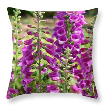 Pink Foxglove Flowers Throw Pillow