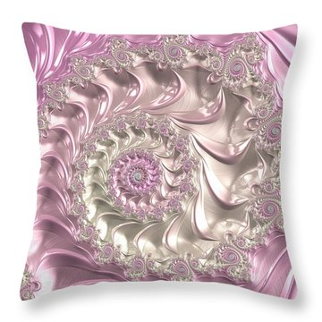 Pink Fractal Spiral Art Bright And Luxe Throw Pillow