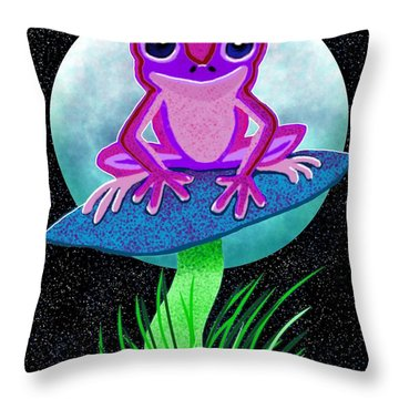 Pink Frog And Blue Moon Throw Pillow