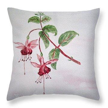 Pink Fuchsia's  Throw Pillow by Elvira Ingram