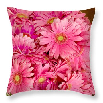 Pink Gerbera Daisies Throw Pillow by Art Block Collections