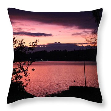 Pink Grapefruit Colored Sunset Throw Pillow by Kym Backland