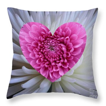 Pink Heart On White Throw Pillow