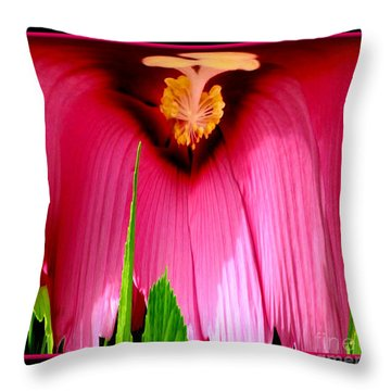 Pink Hibiscus Abstract Throw Pillow by Rose Santuci-Sofranko