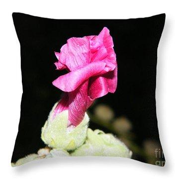 Pink Hollyhock  Throw Pillow