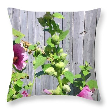 Throw Pillow featuring the painting Pink Hollyhocks by Doug Kreuger