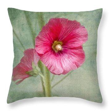Pink Hollyhocks Throw Pillow