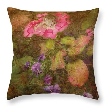 Pink Hydrangea And Purple Pansies Throw Pillow