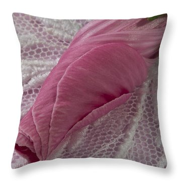 Pink Lavatera Bud Macro Throw Pillow by Sandra Foster