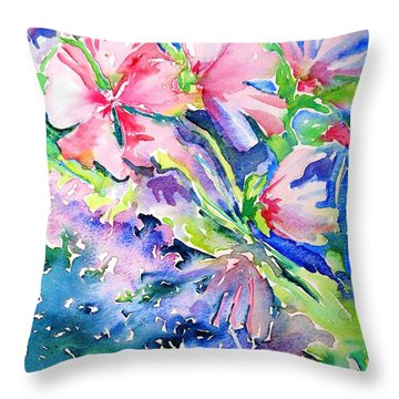 Pink Lavatera Profusion Throw Pillow